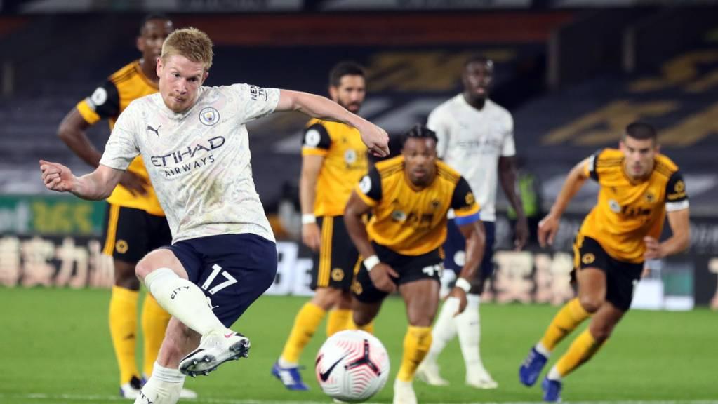 Der Belgier Kevin De Bruyne brachte Manchester City mit einem selbst herausgeholten und verwandelten Foulpenalty auf die Siegerstrasse