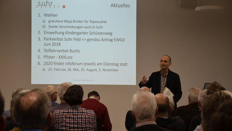 Informationsforum in Suhr am 4. November 2019 zu den Themen öffentliche Beleuchtung, Umgebung Schulzentrum Dorf und Bauamt.