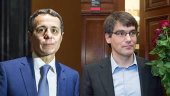 Der neue FDP-Fraktionschef Ignazio Cassis (l) und der neue SP-Fraktionschef Roger Nordmann (r).jpg