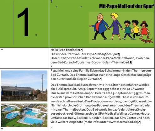 Das Original von 2013: Auszug aus der Projektarbeit «Mit Papa Moll auf der Spur» der damaligen Bezirksschüler Pascal Pfister und David Binder.