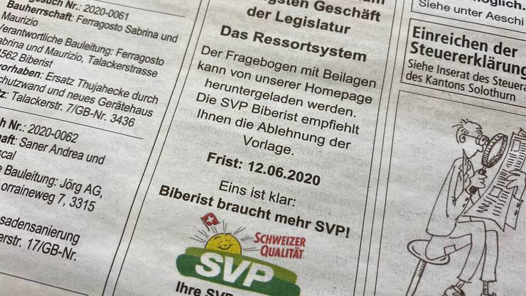 "Inserat der SVP Biberist zum Thema ""Ressortsystem""."