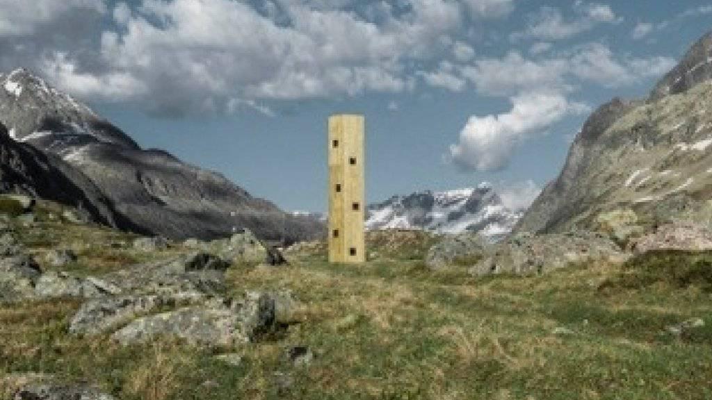 Origens neuer Turm auf der Julierpasshöhe soll von Bündner Emigranten erzählen und den Startschuss für den Bau eines Theaters auf der Passhöhe bilden. (Pressebild)