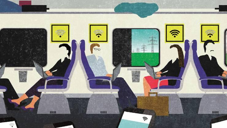 Arbeiten mit dem Handy, Tablet und Laptop ist in Schweizer Zügen kaum möglich - die Internetverbidnung ist nicht für die moderne Arbeitswelt geschaffen.