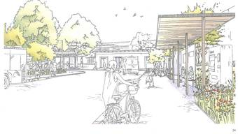 Eine Visualisierung des Grenchner Bahnhofplatzes.