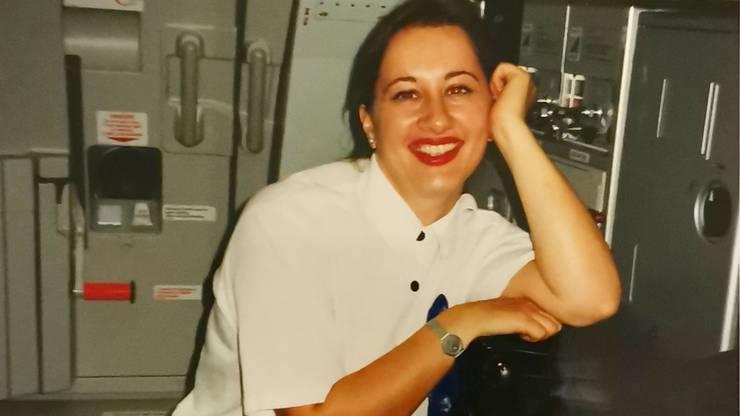 Sandrine Nikolic-Fuss in jungen Jahren als Flight Attendant der Swissair.