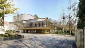 Im neuen Kleid: So wird das Kurtheater – mit erweitertem Foyer und grösserem Bühnenturm – ab 2020 von der Parkstrasse her aussehen. Visualisierung/ZVG