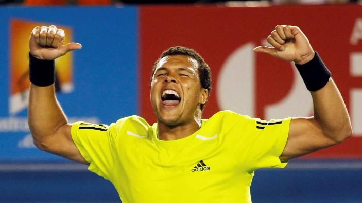 France's Jo-Wilfried Tsonga celebrates his quarter-final win over Novak Djokovic of Serbia at the Australian Open tennis tournament in Melbourne January 27, 2010.   REUTERS/Daniel Munoz (AUSTRALIA - Tags: SPORT TENNIS)