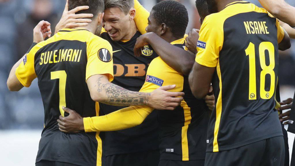 Die Young Boys bejubeln den 1:1-Ausgleich gegen Partizan Belgrad