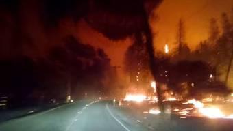 Überall nur Flammen, Glut und Rauch: Die gruslige Fahrt durch den brennenden Wald.