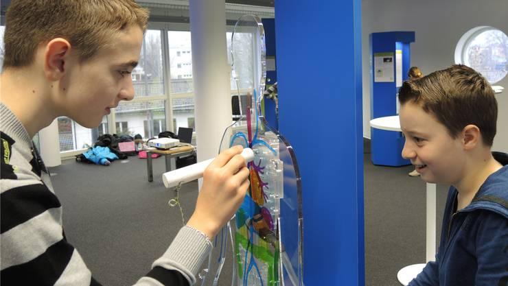 Ausprobieren macht Spass: Fünftklässler besuchen die Nanotechnologie-Ausstellung in Brugg. ZVG