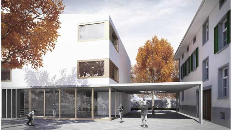 Der Bau des neuen Schulhauses (links) steht unmittelbar vor der Ausführung. (Symbolbild)