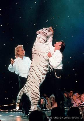 Siegfried und Roy bei einer Shot in Las Vegas während ihrer glorreichen Zeit.