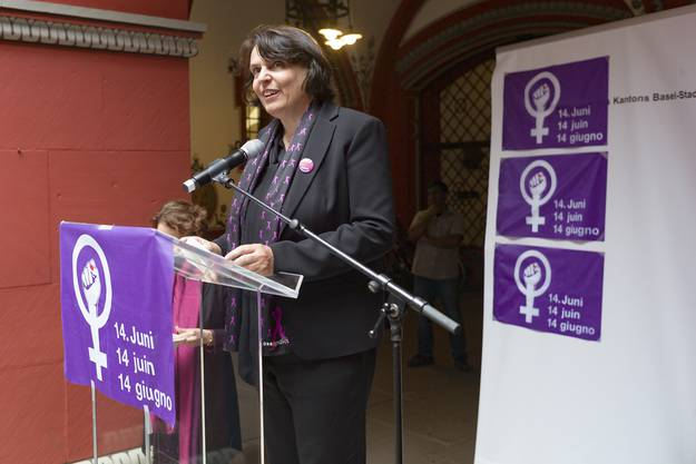 Regierungspräsidentin Elisabeth Ackermann und Regierungsrätin Eva Herzog solidarisierten sich mit dem Streik.