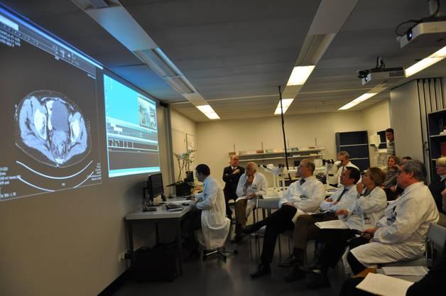 Ärztinnen und Ärzte des Triemlispitals studieren ein Ultraschallbild einer Patientin des Spitals Limmattal