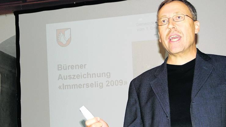 Immerselig: 2009 Markus Schär bedankt sich für die Auszeichnung. Sl