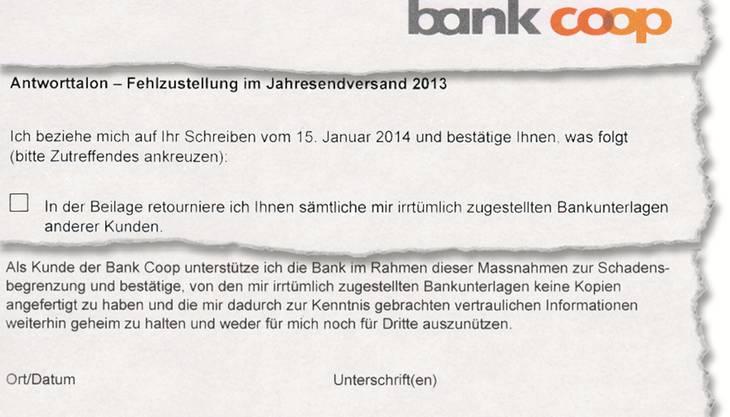 Diesen Fragebogen sollen Kunden der Bank Coop unterschreiben.