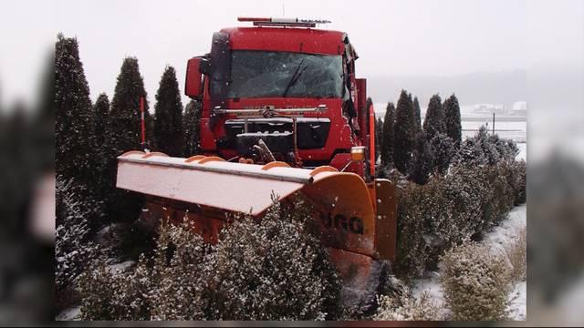 Schneepflug mäht Baumschule um