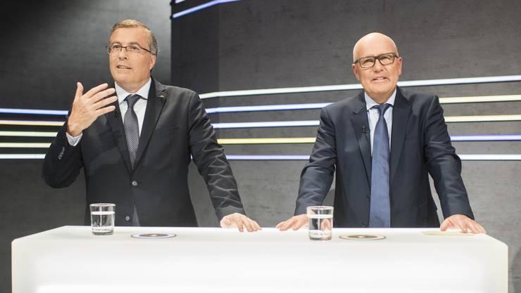 SRG-Präsident Jean-Michel Cina (links) diskutierte in der «Arena» über die No-BillagInitiative. Einer seiner Gegner ist Dieter Spiess vom Gewerbeverband.
