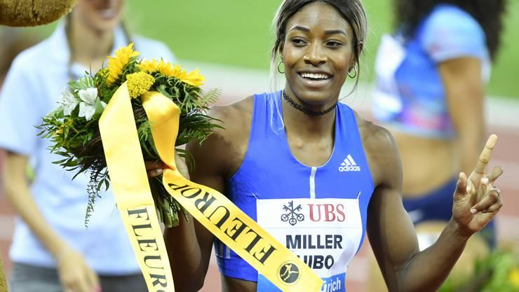 Gern gesehener Gast: Shaunae Miller-Uibo nach ihrem Gewinn in der Kategorie 200m an der Weltklasse Zürich 2017.