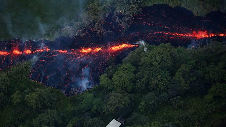 Ein über 300 Meter langer Riss im Boden nach dem Ausbruch des Vulkans Kilauea auf Hawaii.