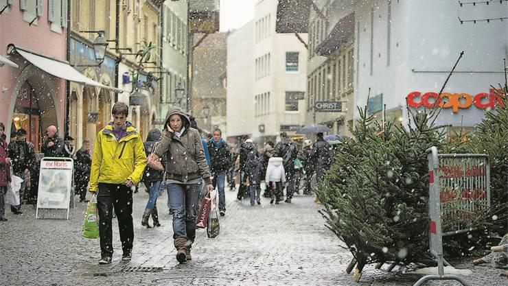 Sonntagsverkauf im Advent in Aarau.