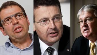 FDP-Präsident Matthias Jauslin, SVP-Präsident Thomas Burgherr, CVP-Präsident Markus Zemp.