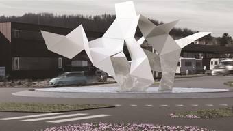 Ungefähr so soll der Ortseingang Ost von Bad Zurzach – der Kreisel vor dem Regibad – einst aussehen: Eine abstrakte Darstellung eines Salzkristalls.