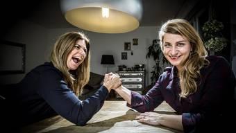 Vanessa und Alexandra Fitz messen sich ständig, nicht nur in ihrer Wohnung in Zürich – aber auch Blödsinn machen und lachen können sie zusammen am besten.