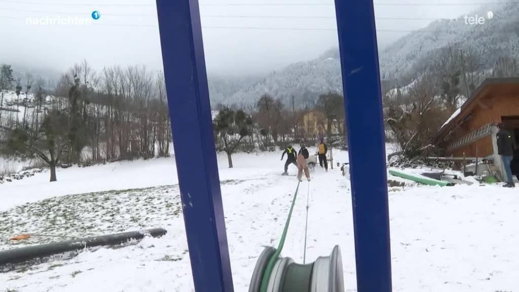 Selbstgebauter Skilift aus Attinghausen