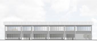 Südfassade des neuen Schulhauses mit dem Ausgang des Kindergartens (links) und dem Eingang der Primarschule (rechts).