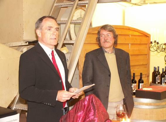 Marc Périllard 2006 bei der Präsentation der Künstleretikette von Andy Wildi in Ennetbaden.