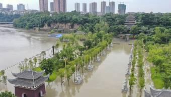 Die heftigen Regenfälle brachten Überschwemmungen in den Tongnan-Abschnitt des Fujiang-Flusses, wobei auch etwa 180 Hektar Nutzpflanzen zerstört wurden. Foto: Huang Wei/XinHua/dpa