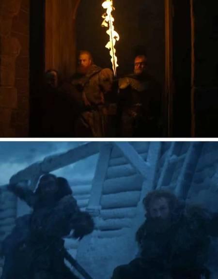Tormund und Dondarrion überleben den Angriff der weissen Wanderer. (Bild: Screenshot/HBO)