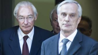 Der Angeklagte Rolf Erb (links) und sein Anwalt Lorenz Erni