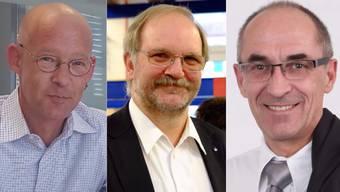 Sie alle wollten Chef werden: Erich Bruderer (FDP), Alfred Merz (SP) und Hans Heinrich Leuzinger (SVP) (v.l.).