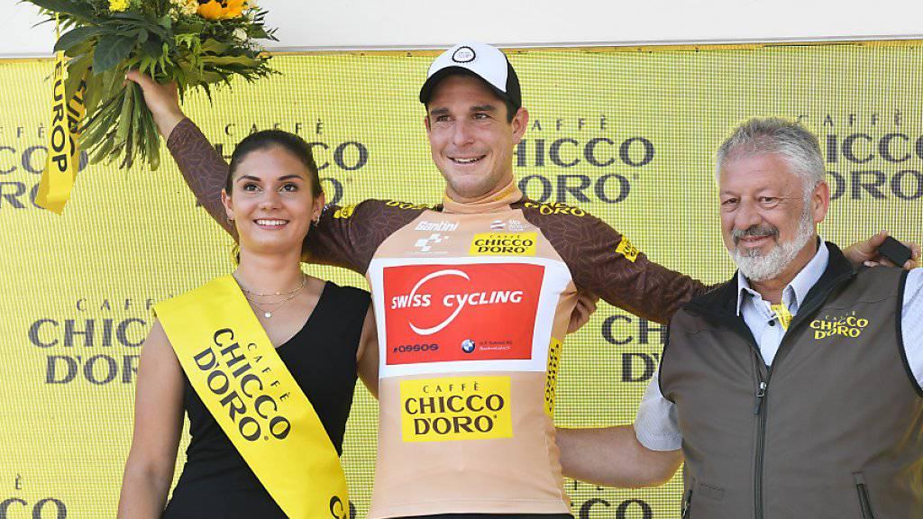 Das mit einer Wildcard ausgestattete Schweizer Nationalteam sorgt an der Heim-Rundfahrt für positive Schlagzeilen. Claudio Imhof (im Bild) trägt nach wie vor das Trikot des Bergpreis-Leaders, Fabian Lienhard sprintete in Einsiedeln als Siebenter zum dritten Mal hintereinander in die Top 10