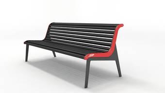 Geklaute Sitzbank der Rhätischen Bahn