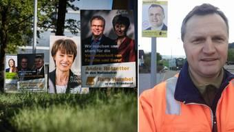 BDP-Nationalrat Bernhard Guhl (rechts) zeigt sich auf einem Facebook-Selfie beim Abbau seiner Wahlplakate.
