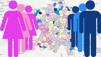 Wo im Aargau mehr Frauen oder mehr Männer wohnen