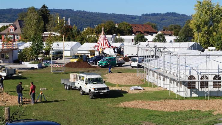 Der Aufbau ist in vollem Gang: Blick aufs Festgelände am Montag um 11 Uhr, vier Tage vor der Eröffnung der Handwerker- und Gewerbeausstellung mitten in Wohlen.