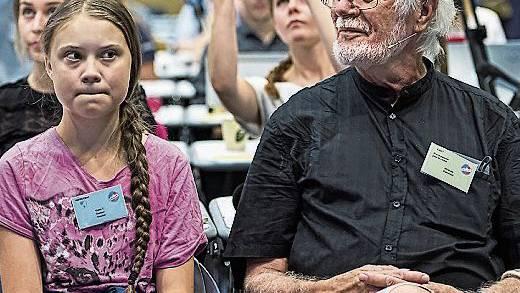 Gemeinsame Sache: Jacques Dubochet und Greta Thunberg.