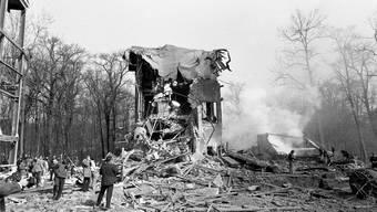 Die «Pulveri» nach der Explosion: Am Morgen des 8. April 1969 hatte eine gewaltige Detonation das Freiamt erschüttert.