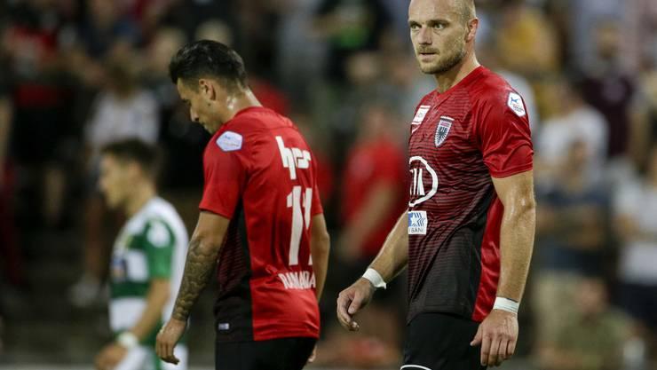 Enttäuschte Gesichter beim FCA: Allen voran Marco Schneuwly (rechts).
