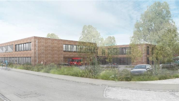 So wird sich das Wohnheim Kontiki präsentieren, wenn der Erweiterungsbau aufgestellt und mit dem Wohnheim verbunden wird.Visualisierung zvg