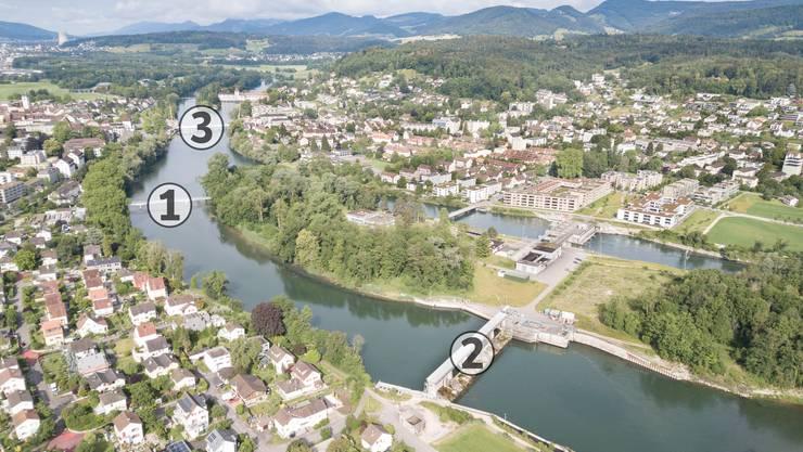 Nummer 1 ist der Zurlindensteg, der von der Aarenau respektive dem Scheibenschachen auf die Zurlindeninsel und dann ans südliche Aareufer (bei der Stadtgärtnerei) führt. Nummer 2 ist das Kraftwerk Rüchlig, wo schon einmal eine Velo- und Fussgängerbrücke hätte entstehen sollen, vom Einwohnerrat aber abgelehnt wurde. Ungefähr hier wäre der potenzielle Standort für eine neue Brücke, wie sie aktuell zur Diskussion steht. Nummer 3 ist die Hilfsbrücke, über die der Verkehr während des Kettenbrücke-Ersatzbaus fliesst.