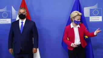 Frostige Stimmung: Ungarns Ministerpräsident Viktor Orban (l) und EU-Kommissionspräsidentin Ursula von der Leyen.