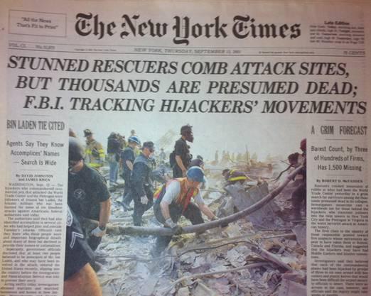 Fassungslose Retter: New York Times vom 13. September 2001