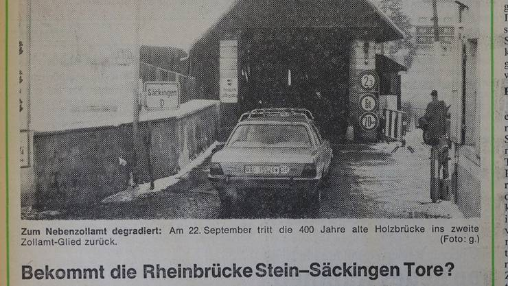 Zeitungsausschnitt vom 16. Januar 1979 zur Torfrage bei der alten Holzbrücke.