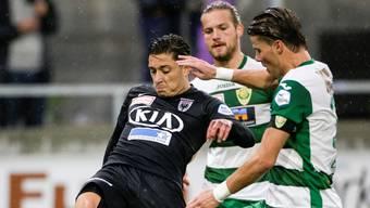 Das bislang letzte Pflichtspiel zwischen dem FC Aarau (im schwarzen Trikot Spadanuda) und dem SC Kriens endete mit 4:1 für die Innerschweizer