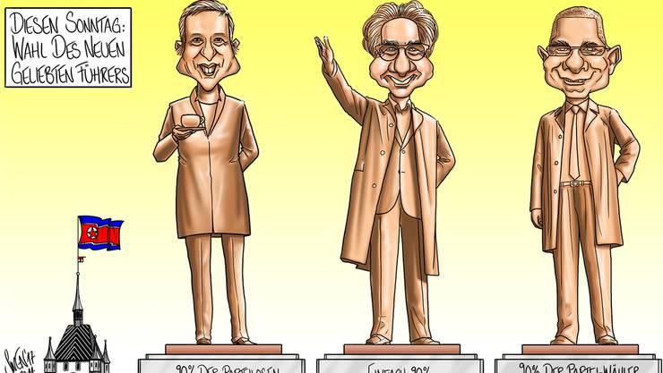 Karikatur zu den Stadtammannwahlen in Baden.